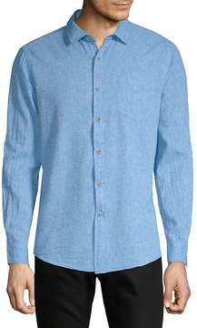 Report Collection Men's Linen-Blend Solid Sport Shirt