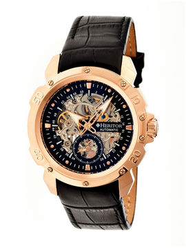 Heritor Automatic Carter Mens Skeleton Dial Leather-Rose G/Black Watches