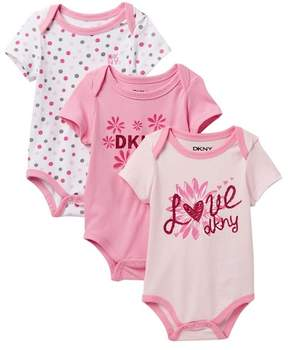 DKNY Love Assorted Bodysuits - Set of 3 (Baby Girls 0-9M)