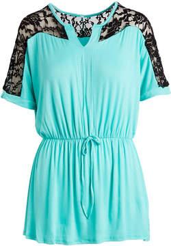 Celeste Mint & Black Lace-Shoulder Notch Neck Top - Women