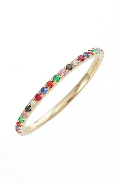 Ef Collection Women's Rainbow Precious Gem Stack Ring