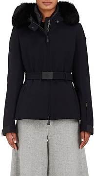 Moncler Women's Giubbotto Fur-Trimmed Belted Gabardine Jacket