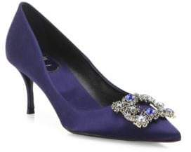 Roger Vivier Dec Flower Crystal-Buckle Satin Point Toe Pumps