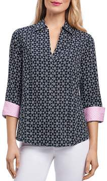 Foxcroft Optic Floral-Print Button-Down Top