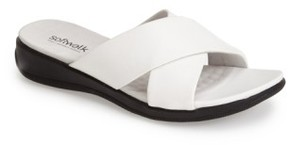 SoftWalk Women's 'Tillman' Leather Cross Strap Slide Sandal