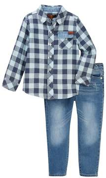 7 For All Mankind Button Up Shirt & Jeans Set (Toddler Boys)