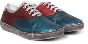Marc Jacobs Distressed Metallic Suede Sneakers