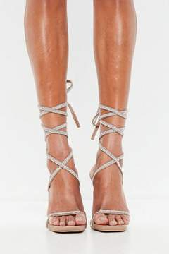 Missguided Nude Diamante Lace Up Heeled Sandals
