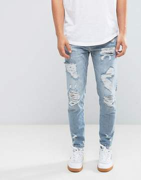 Pull&Bear Slim Ripped Jeans In Mid Wash