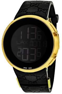 Gucci I Yellow Gold-tone Black Rubber Men's Watch YA114229
