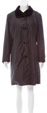 Ellen Tracy Velvet-Trimmed Knee-Length Coat