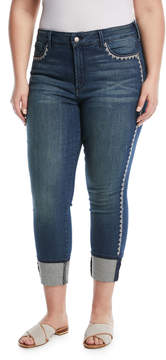 NYDJ Plus Alina Lace-Side Ankle Jeans, Plus Size