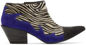 Haider Ackermann Black and White Zebra Hulan Boots