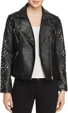 En Creme Studded Faux-Leather Jacket