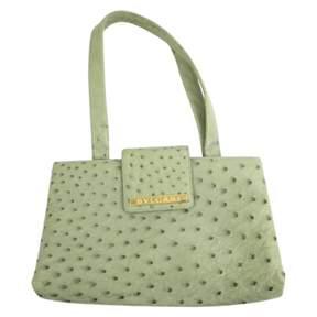 Bulgari Vintage Green Ostrich Handbag