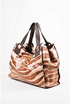 Roger Vivier Pre-owned Taupe Brown Leather Zebra Print Shoulder Tote Bag.