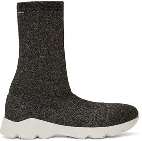 MM6 MAISON MARGIELA Gunmetal and Black Lurex Sneaker Boots