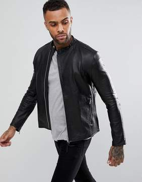 Religion Collarless Leather Jacket
