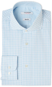 Isaac Mizrahi White & Teal Tattersall Slim Fit Dress Shirt