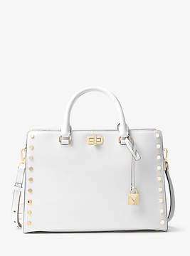 Michael Kors Sylvie Large Studded Leather Satchel - WHITE - STYLE