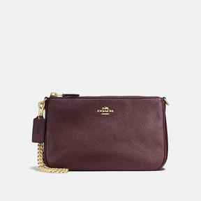 COACH Coach Nolita Wristlet 22 - LIGHT GOLD/OXBLOOD - STYLE