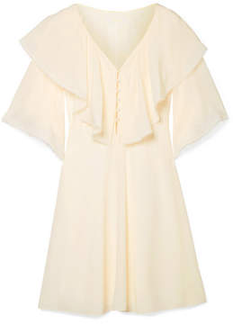 Chloé Ruffled Silk Crepe De Chine Mini Dress - Cream