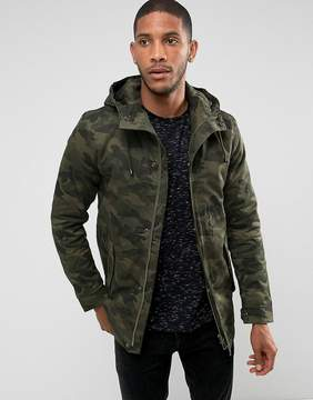 ONLY & SONS Padded Parka with Camo Print