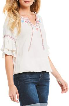 Democracy Double Tiered Ruffle Bell Sleeve Embroidered Detail Bubble Hem Top