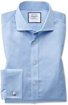 Charles Tyrwhitt Slim Fit Spread Collar Non-Iron Puppytooth Sky Blue Cotton Dress Shirt Single Cuff Size 14.5/32