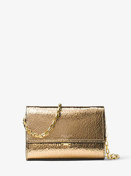 Michael Kors Yasmeen Small Crackled Metallic Leather Clutch - GOLD - STYLE