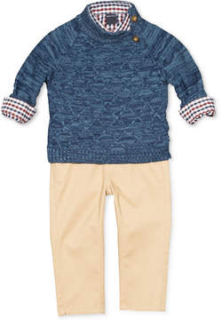 Nautica 3-Pc. Sweater, Plaid Shirt & Pants Set, Baby Boys (0-24 months)