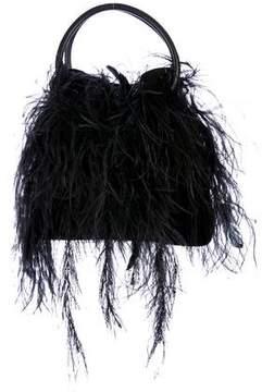 Giorgio Armani Feathered Embellished Suede Bag