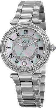 Burgi Womens Silver Tone Bracelet Watch-B-165ss