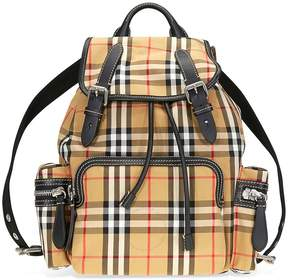 Burberry Medium Vintage Check and Leather Rucksack- Antique Yellow