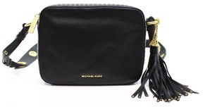 Michael Kors Black Leather Brooklyn Large Camera Shoulder Bag Purse - BLACKS - STYLE