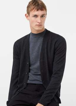 Mango Outlet Chunky-knit wool-blend cardigan