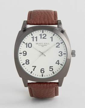 Brave Soul Brown Watch with White Full Figured Dial