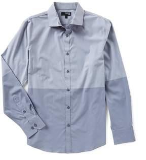 Murano Liquid Luxury Long Sleeve Slim Colorblock Spread Collar Woven Shirt