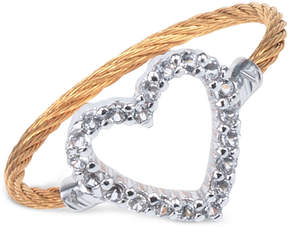 Charriol Women's Laetitia White Topaz-Accent Heart Two-Tone Pvd Stainless Steel Cable Ring