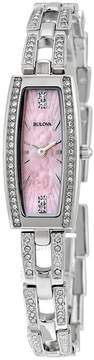 Bulova Crystal Pink Mother of Pearl Dial Stainless Steel Ladies Watch