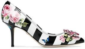 Dolce & Gabbana floral print striped 60 pumps