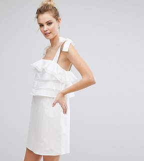 Fashion Union Tall Frill Dress With Tie Cami Straps