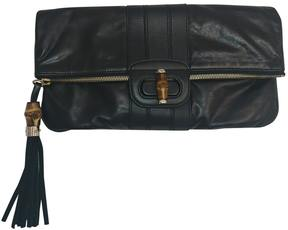 Gucci Bamboo leather clutch bag - BLACK - STYLE