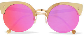 RetroSuperFuture Era Round-frame Acetate And Gold-tone Mirrored Sunglasses - Pink