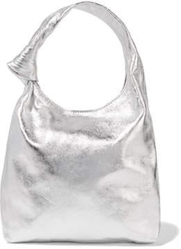 Loeffler Randall Knot Mini Metallic Leather Tote - Silver