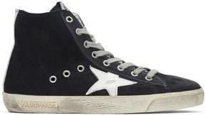 Golden Goose Deluxe Brand Navy Suede Superstar High-Top Sneakers