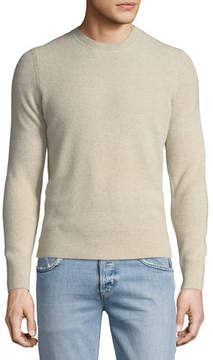Neiman Marcus Ribbed Cashmere Crewneck Sweater
