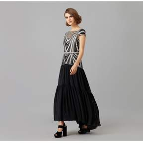 Amanda Wakeley   Black Gunmetal Metallic Embroidery Midi Dress   L   Black