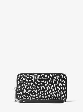 Michael Kors Jet Set Travel Leopard Leather Smartphone Wristlet - WHITE - STYLE