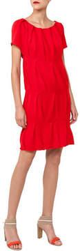 Akris Cap-Sleeve Round-Neck Ruched Knit Cotton Dress